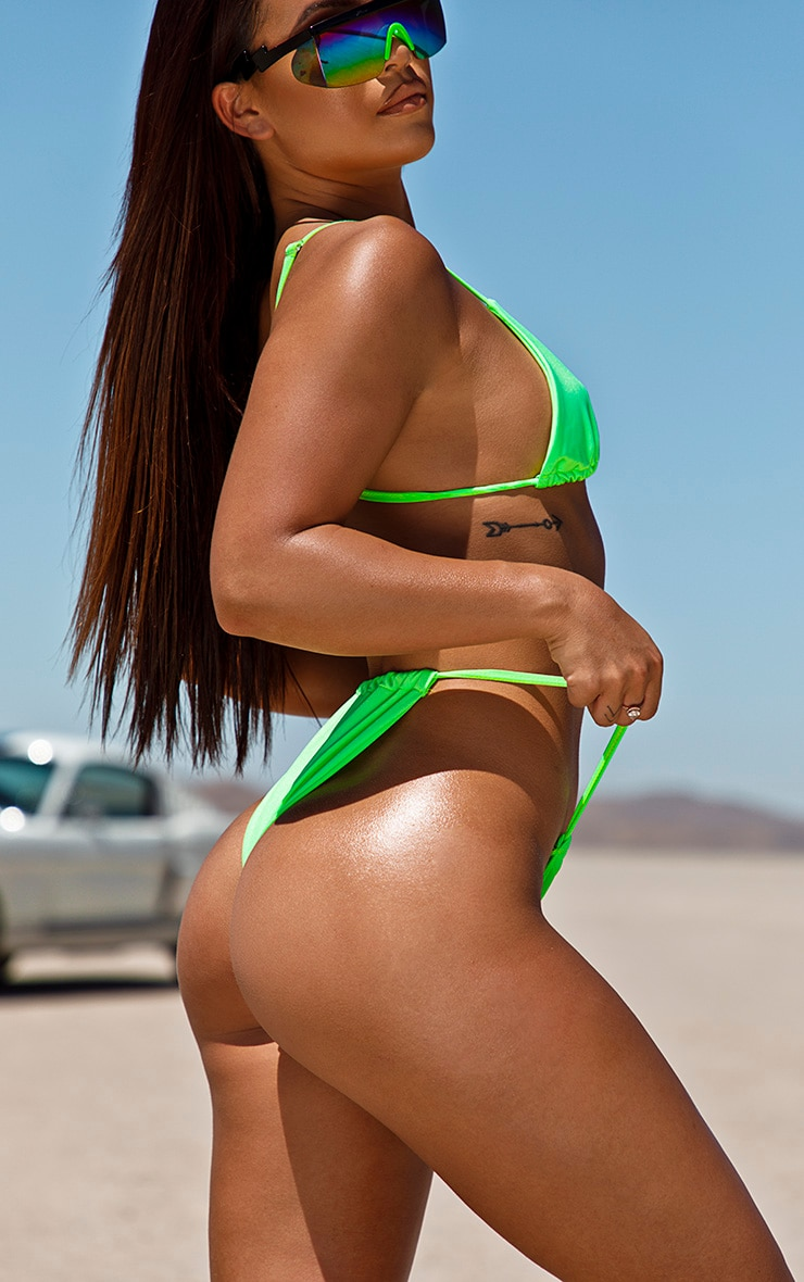Neon Green Tanga Adjustable Bikini Bottom 2