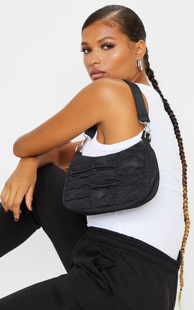 Black Small Ruched Shoulder Bag 1