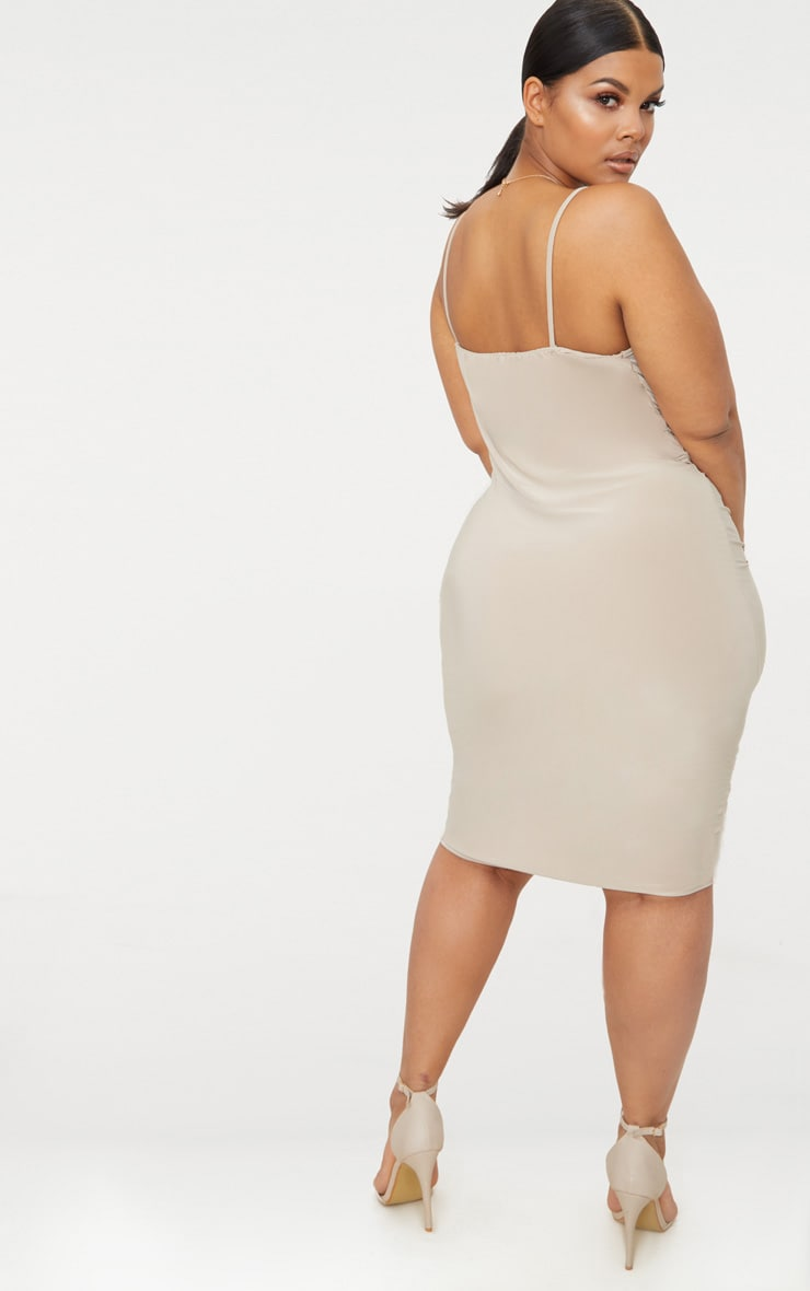 Plus Stone Slinky Strappy Ruched Midi Dress 2