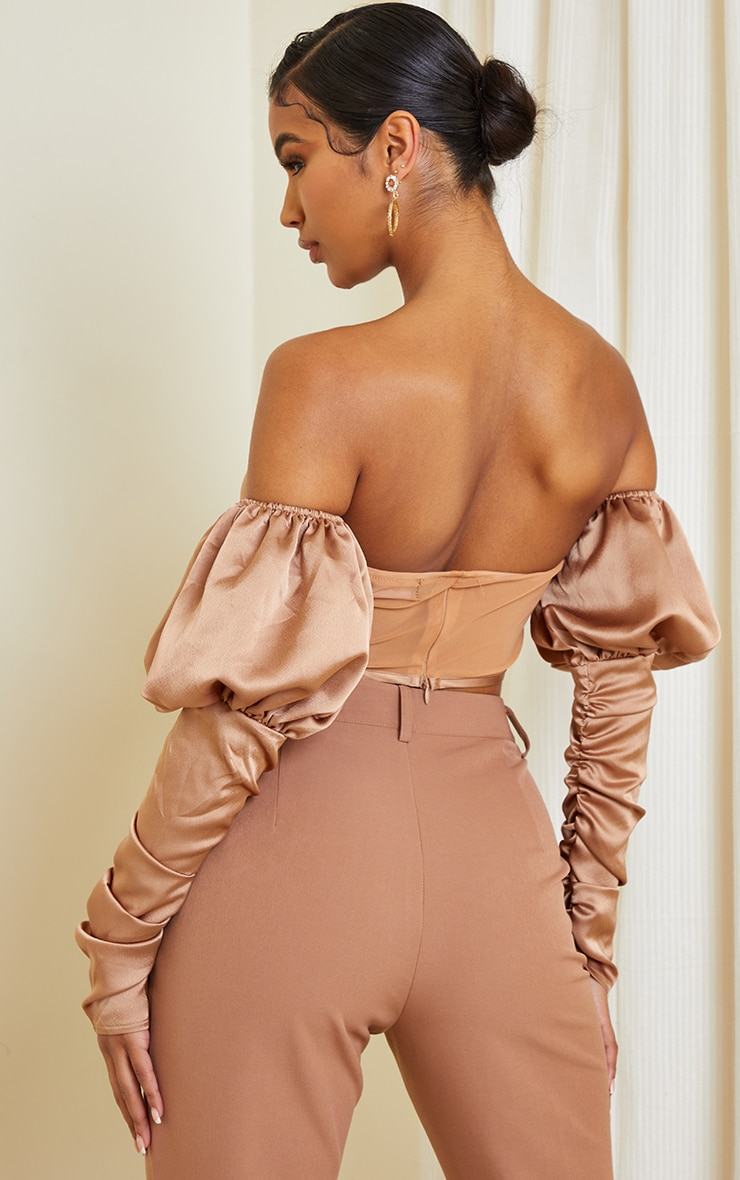 Nude Mesh Curved Hem Satin Ruched Sleeve Cropped Corset 2
