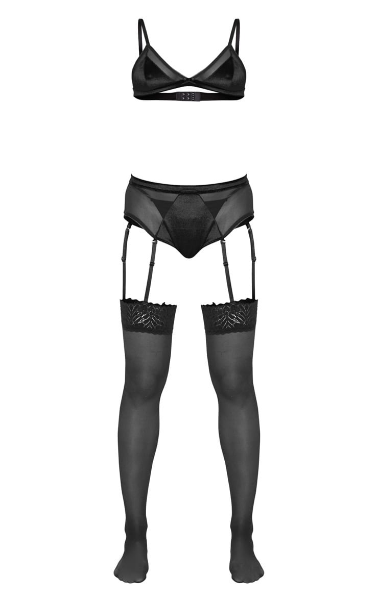 Black Triangle Velvet Bra And Suspender Panties Set 3