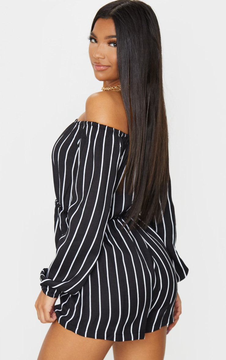 Kennie Monochrome Striped Bardot Romper 2