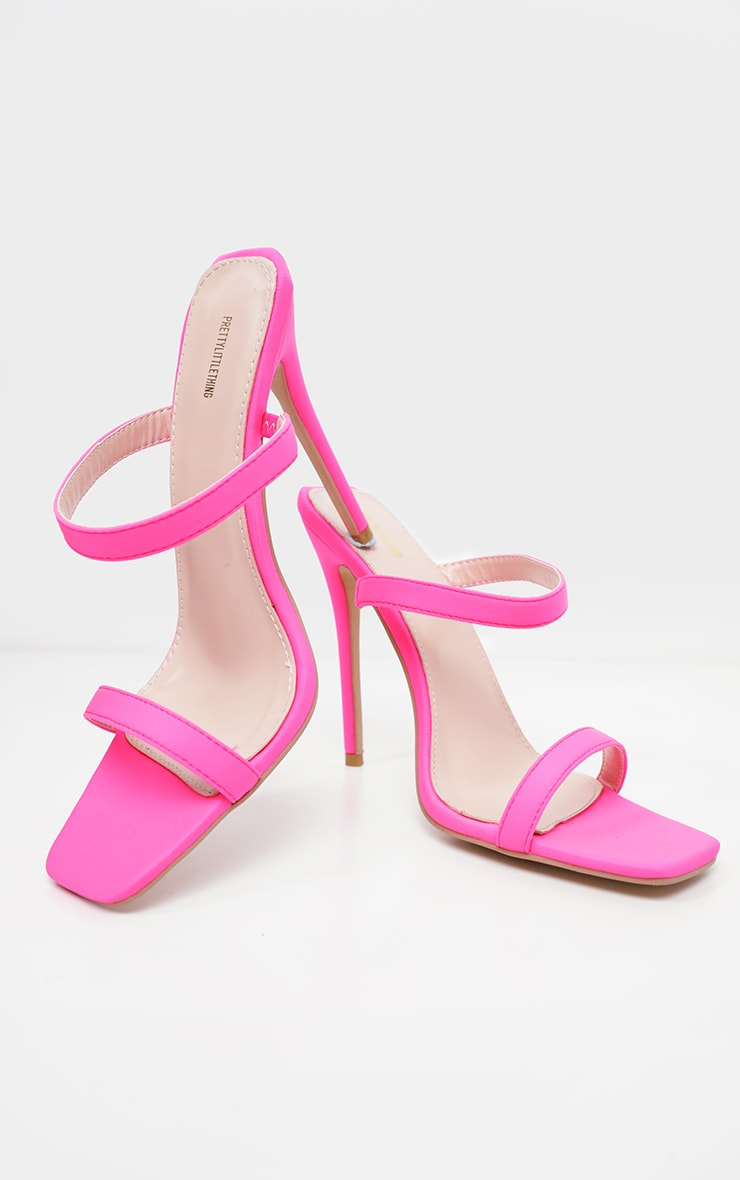 Pink Twin Strap Square Toe Mule Sandal 3