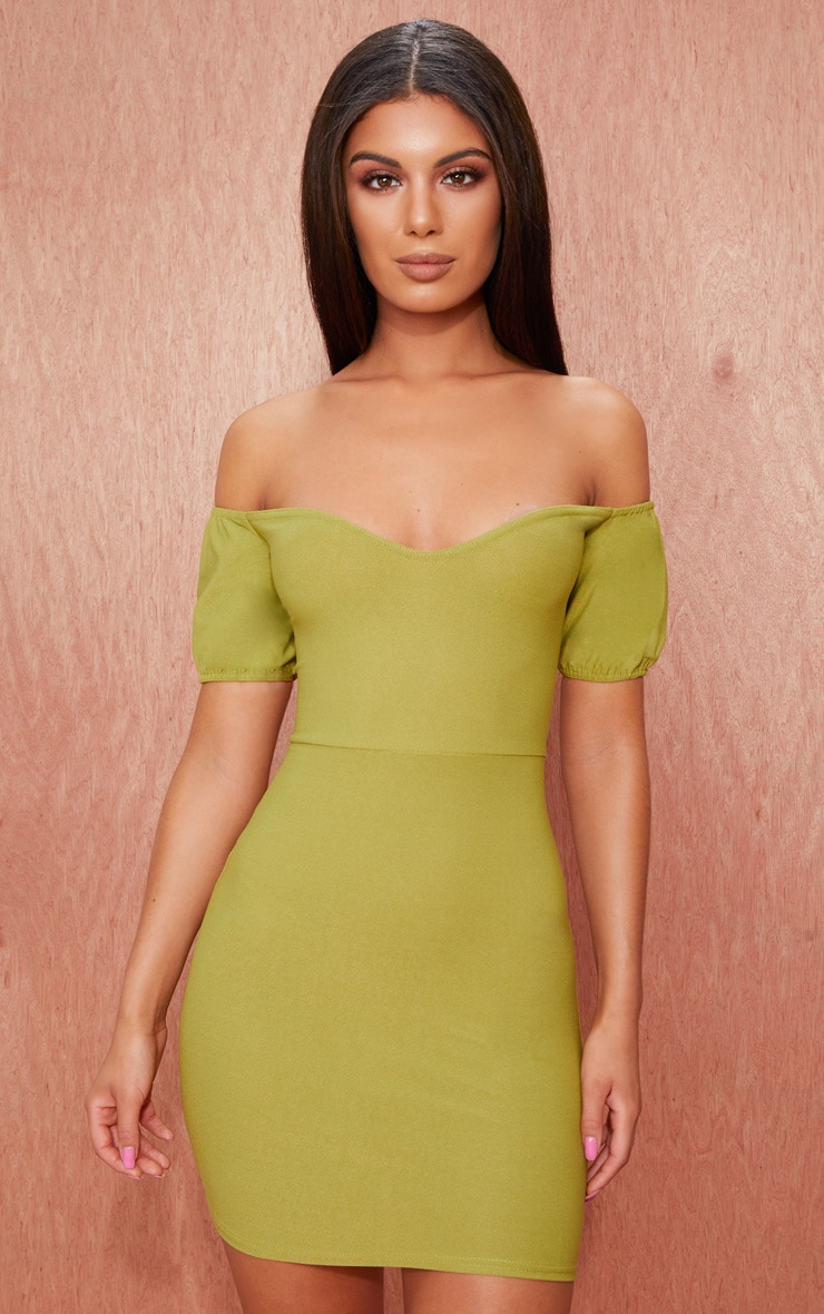 Olive Green Crepe Bardot Puff Sleeve Bodycon Dress 1