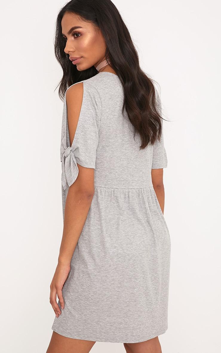 Vivian Grey Ribbed Tie Sleeve Smock Dress  2