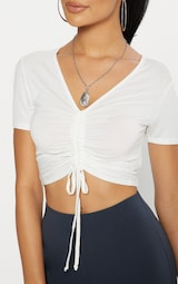 Cream Jersey Ruched Front Crop T Shirt 5