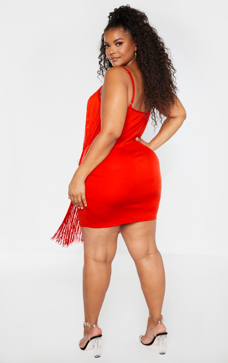 Plus Red Tassel Bodycon Dress 2