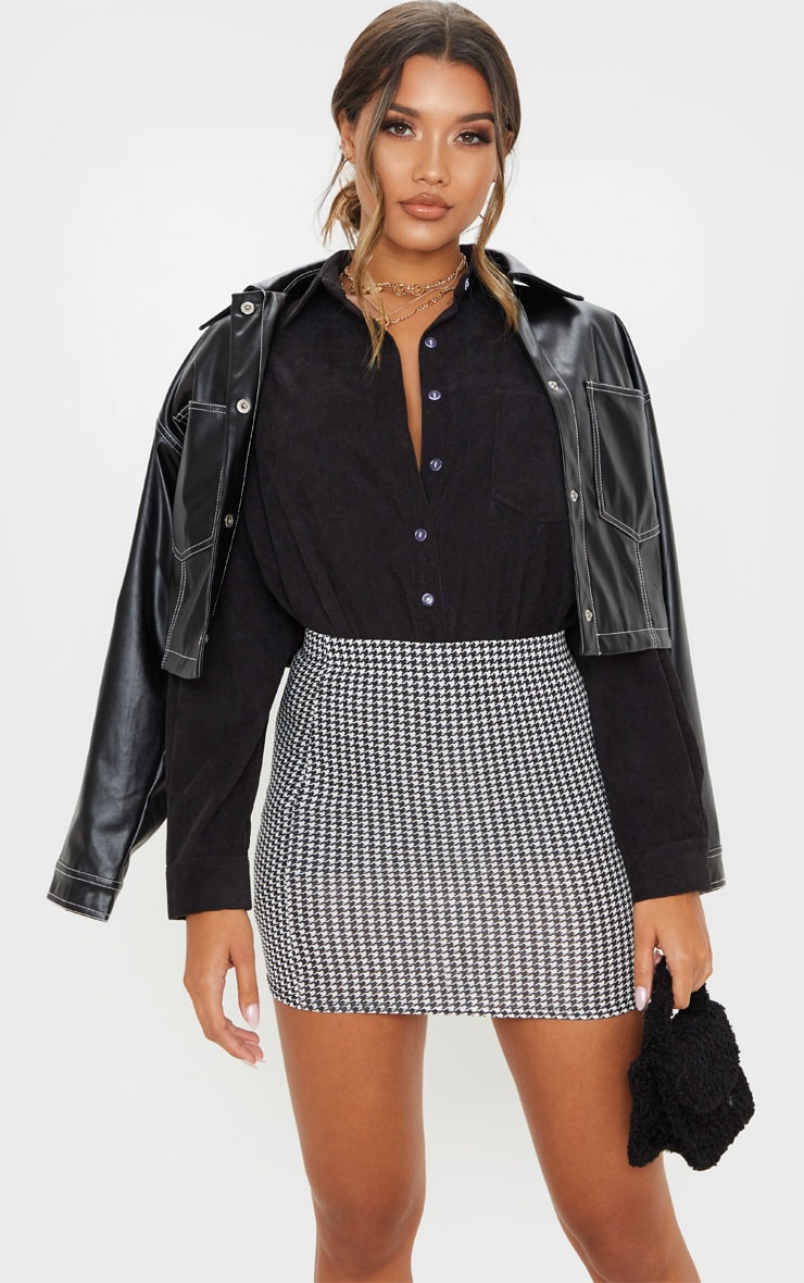 Dogtooth Check Print Mini Skirt 1