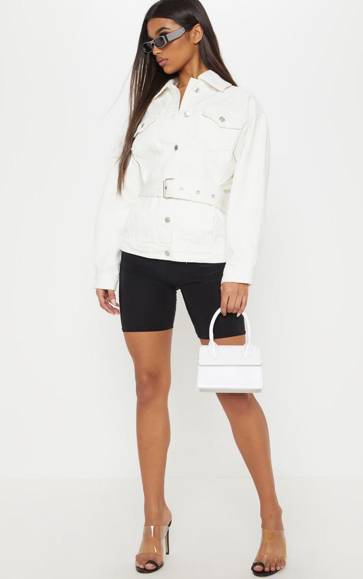 White Buckle Waist Denim Jacket  1