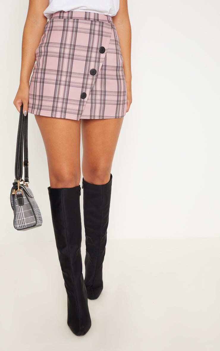 Pink Check Button Skirt  2