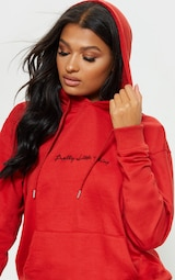 PRETTYLITTLETHING Red Embroidered Oversized Hoodie 5