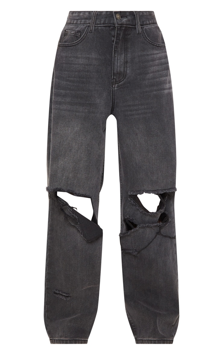 Washed Black Baggy Low Rise Distressed Boyfriend Jean 3