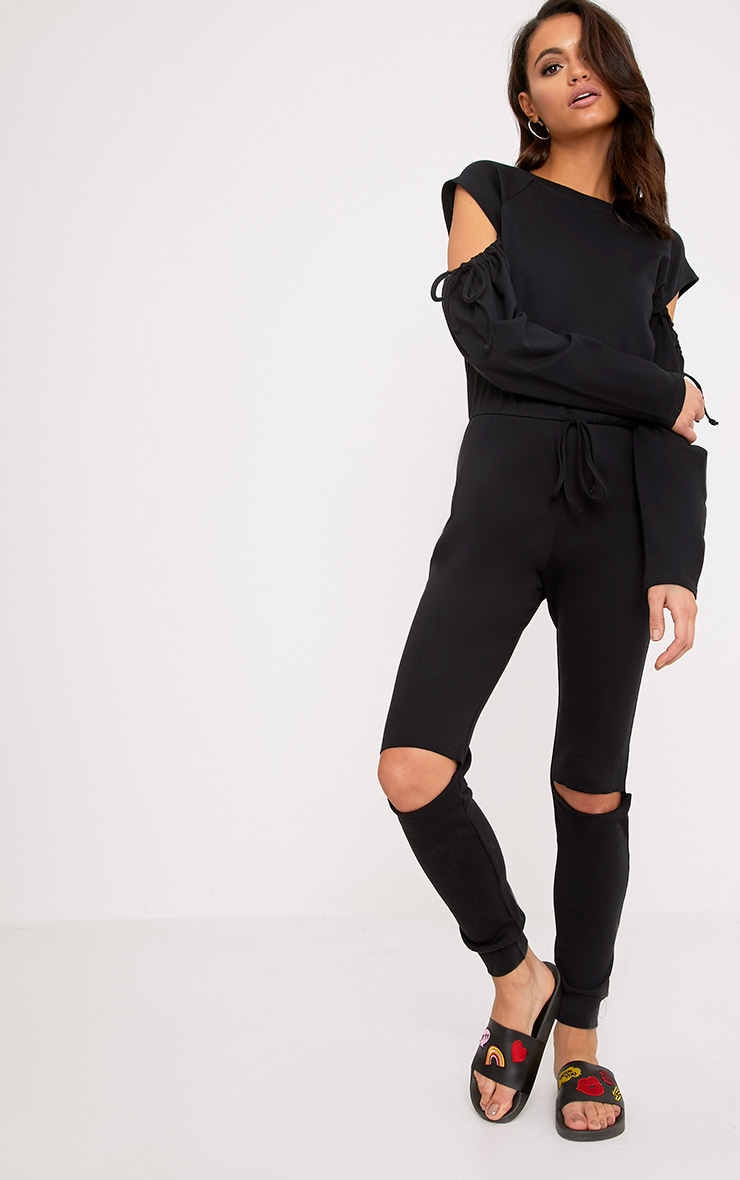 Lindsey Black Sweater Cold Shoulder Ripped Knee Jumpsuit 1