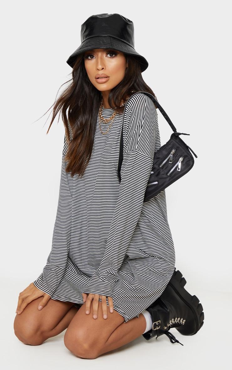 Black Stripe Long Sleeve Boyfriend T Shirt Dress 1
