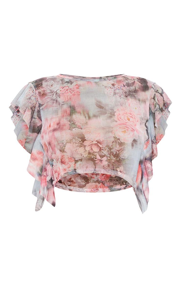 Pink Floral Print Mesh Frill Sleeve Crop Top 5