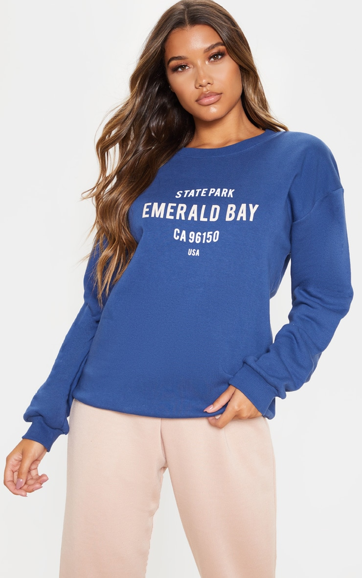 Midnight Blue Emerald Bay Slogan Sweater 1