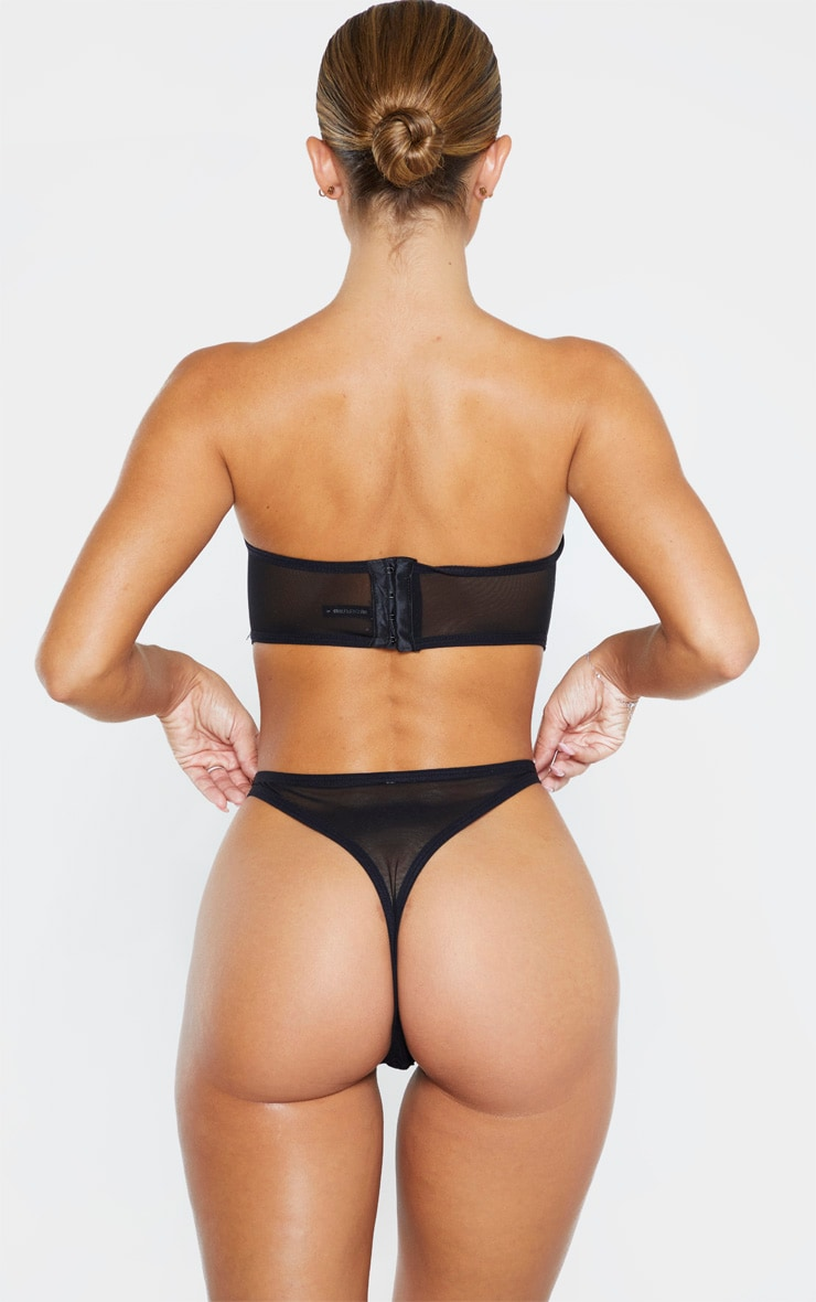 Black Delicate Lace Thong 3