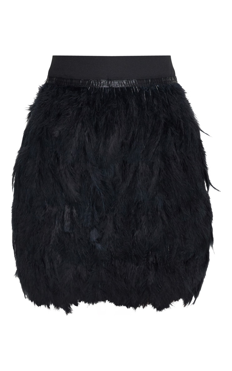 Black Tiered Feather Mini Skirt 3