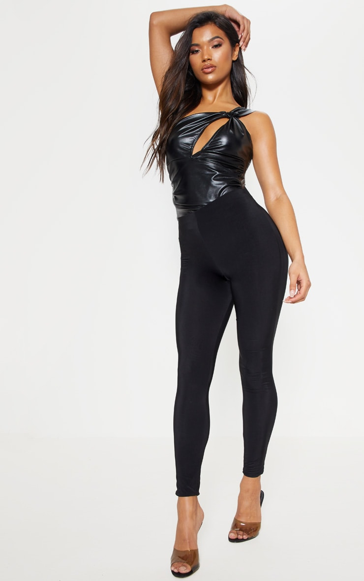 Black Faux Leather One Shoulder Bodysuit 5