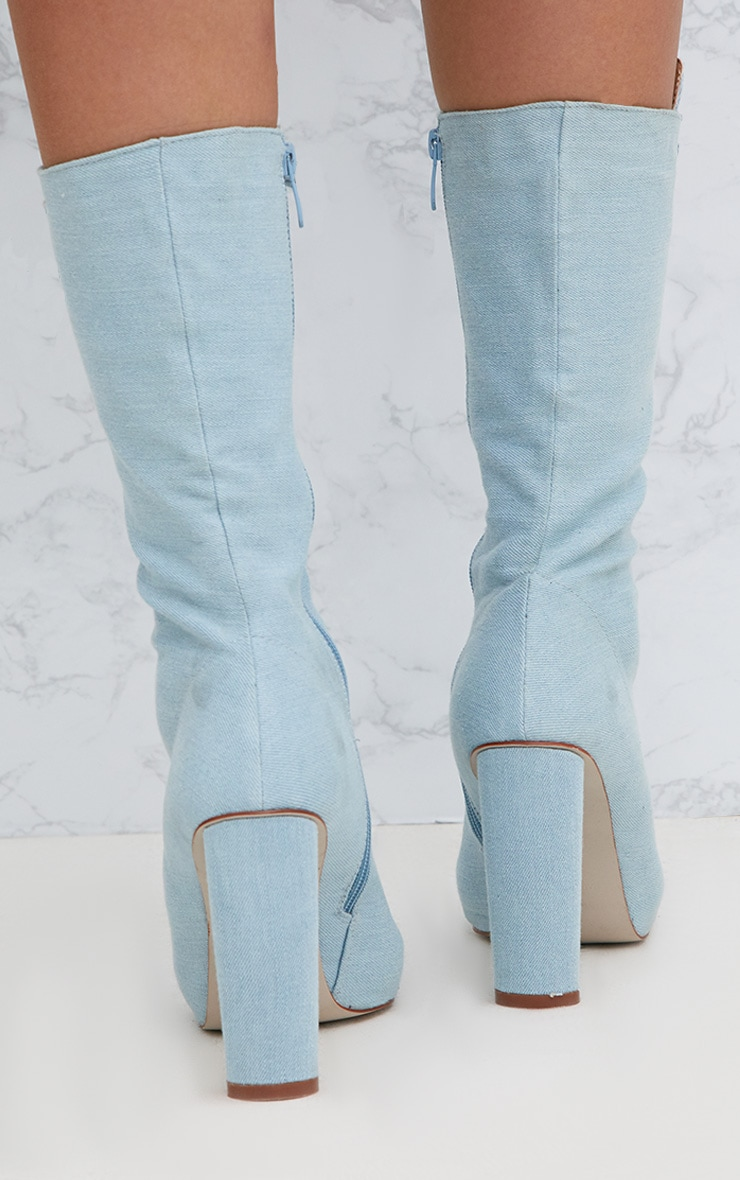 Blue Denim Lace Up Pointed Heeled Boots 4