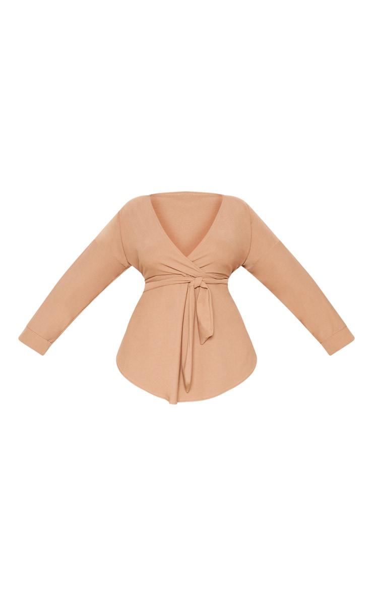 Plus Camel Tie Waist Blouse  3