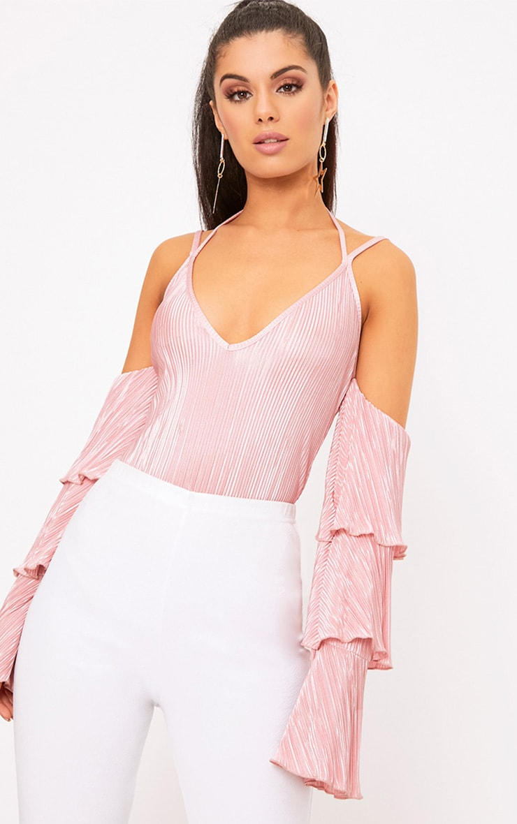Blush Pleated Frill Sleeve Cold Shoulder Thong Bodysuit 1
