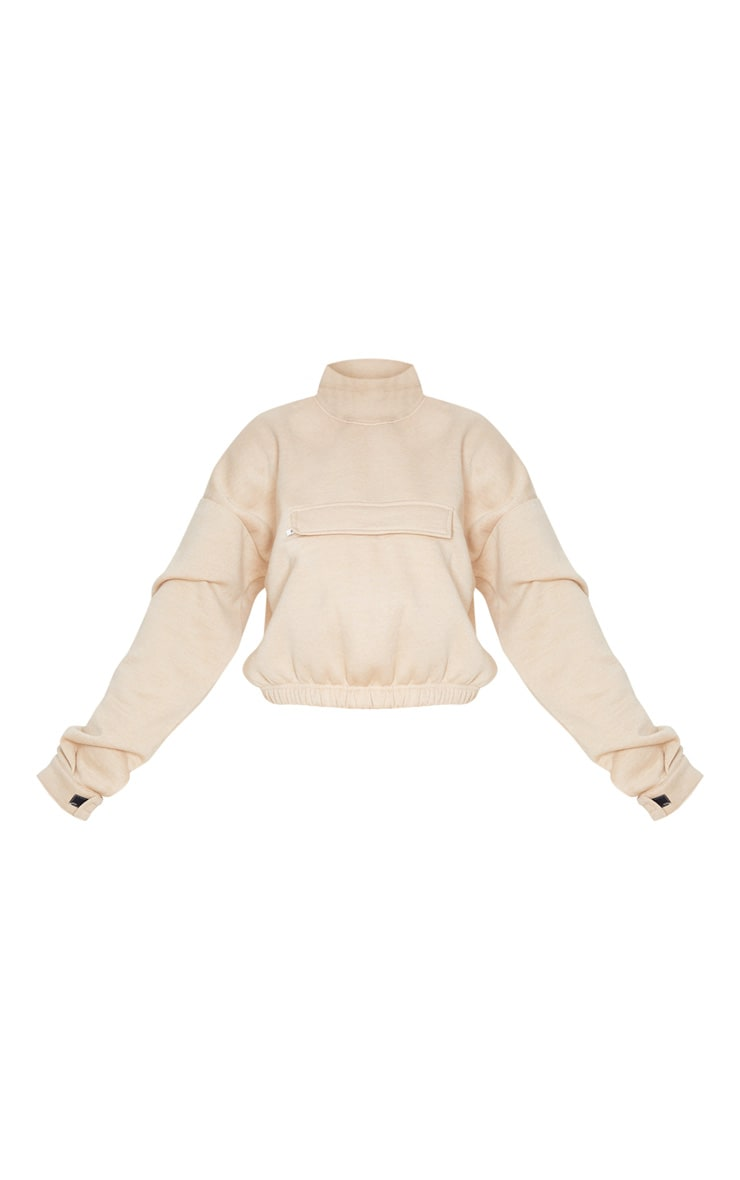 Sand Funnel Neck Pocket Front Sweater 3