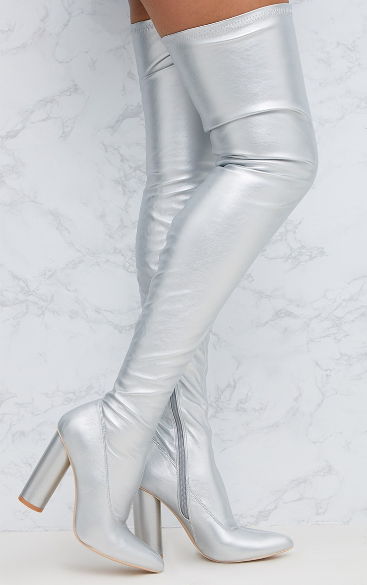 Silver Pu Thigh Boot | Boots | PrettyLittleThing