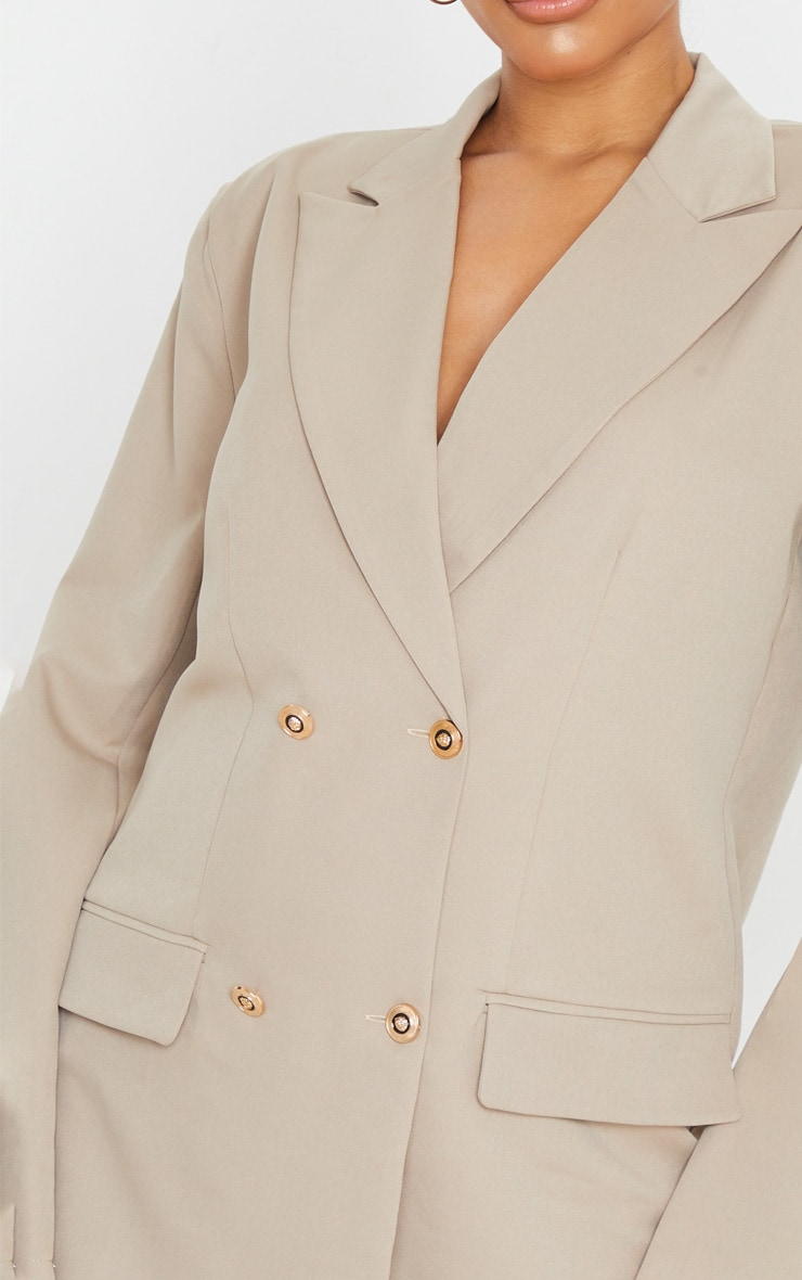Taupe Shoulder Pad Oversized Double Breasted Blazer 5