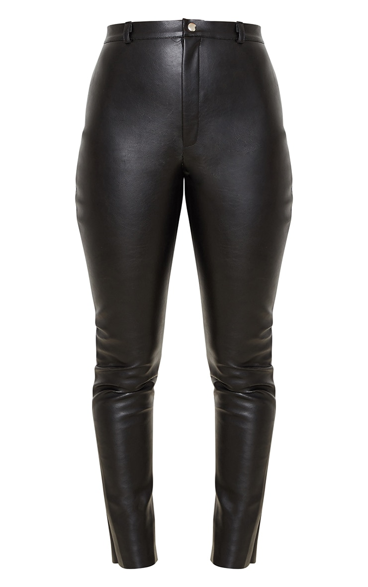 Black Faux Leather Straight Leg Trousers 4