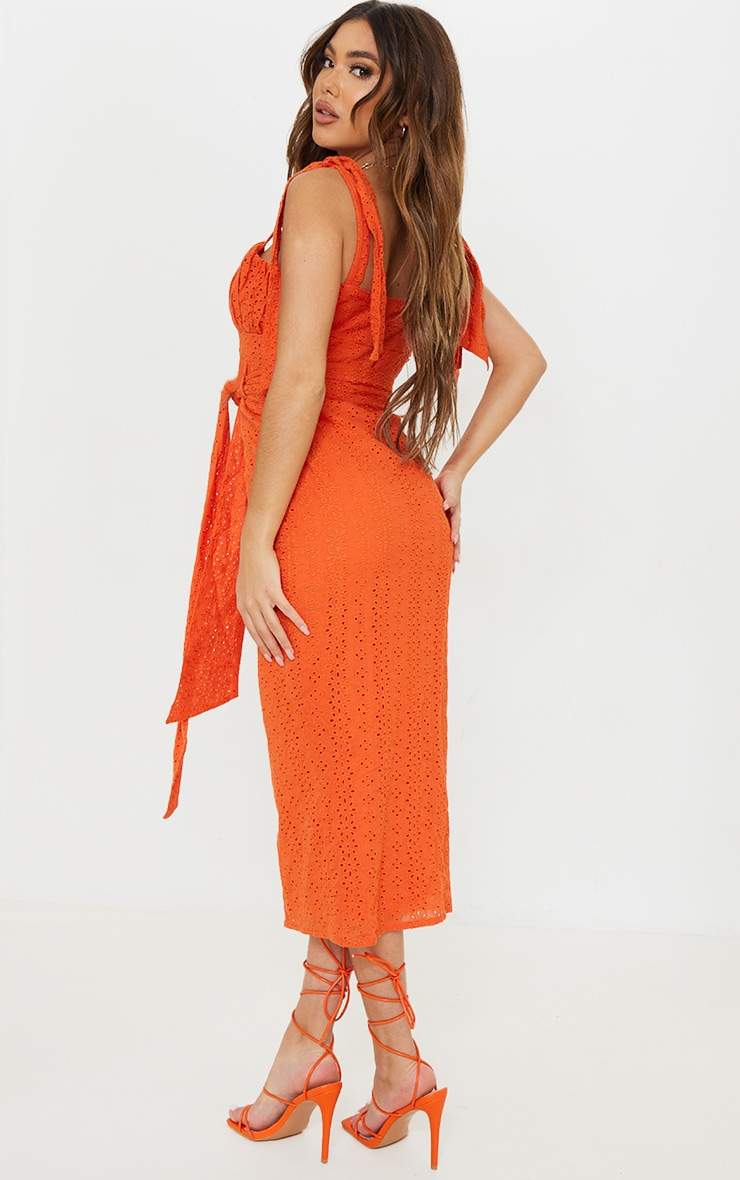 Orange Broderie Anglaise Tie Shoulder Button Down Midi Dress 2