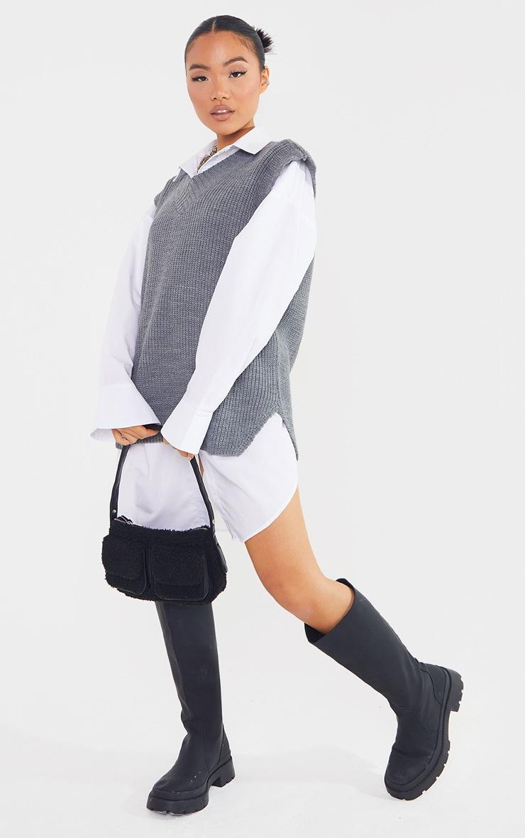 Petite Marl Grey V Neck Knitted Side Split Vest  3