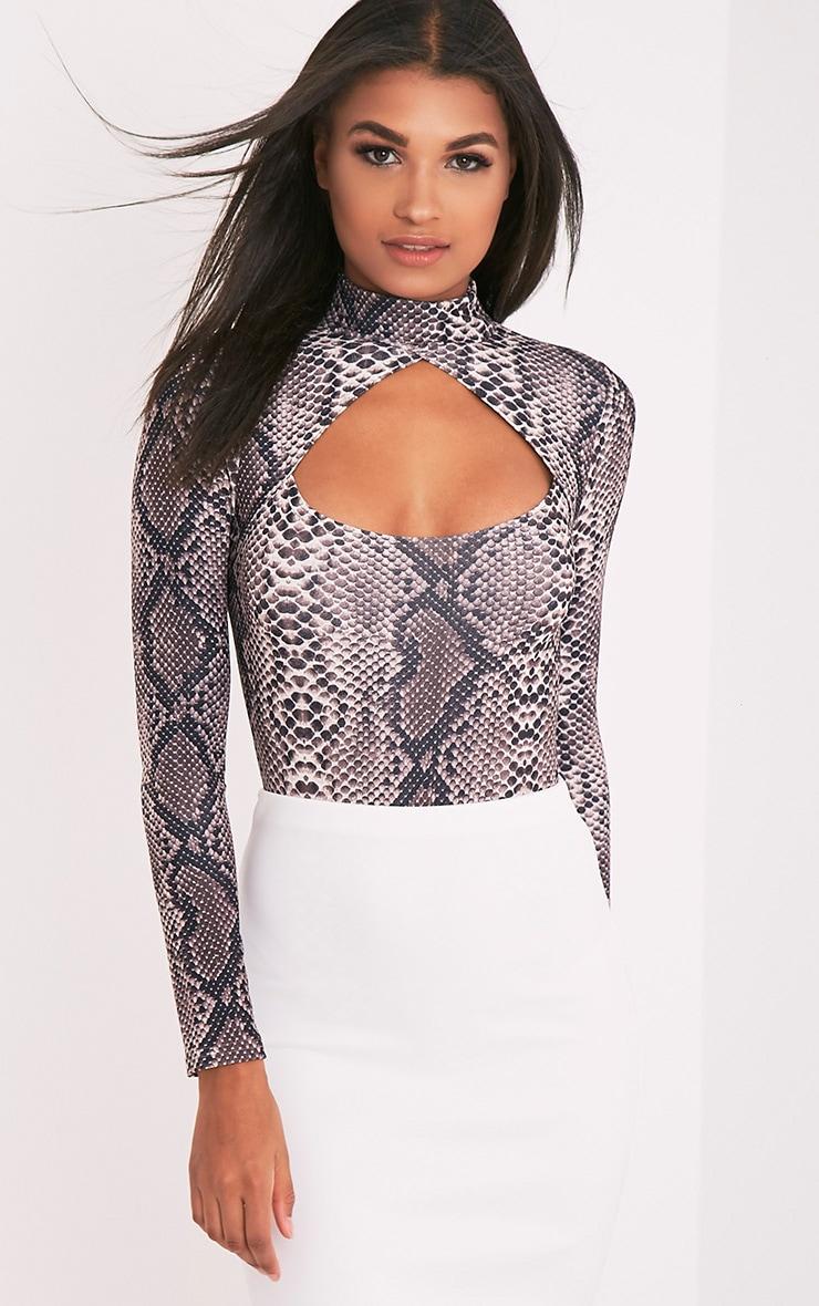 Dona Brown Snake Print Open Front Thong Bodysuit 1