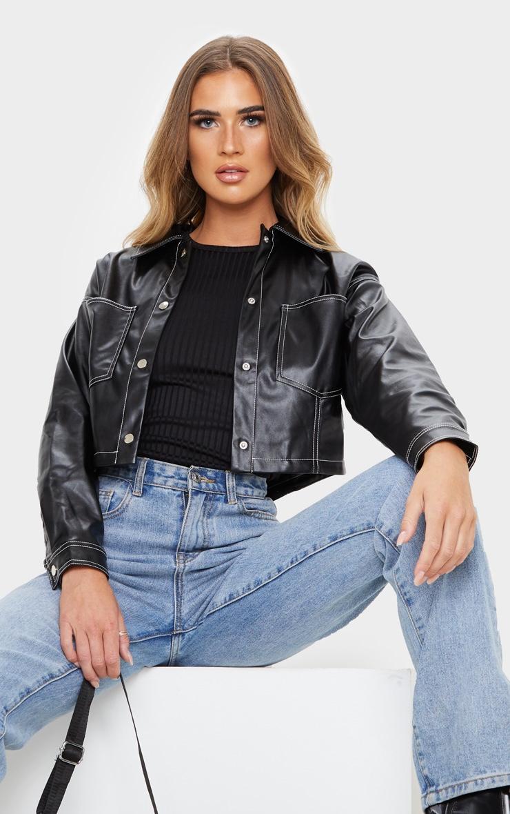 Black Faux Leather Contrast Stitch Crop Jacket 1