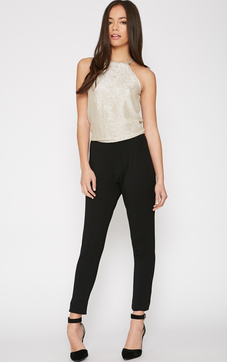 Paola Black and Gold Jumpsuit  1