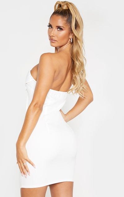 White Bandeau Satin Lapel Blazer Bodycon Dress