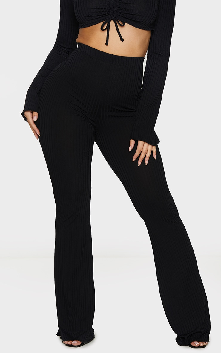 Shape Black Ruched Bum Flared Trousers 2