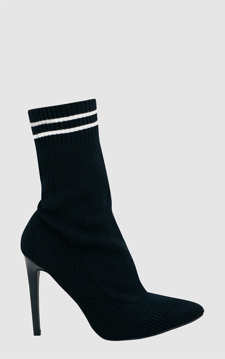 Black Sports Stripe Ankle Sock Boot 3