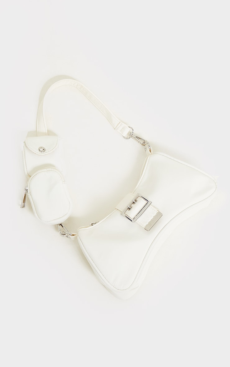 White Nylon Multi Pocket Shoulder Bag 1