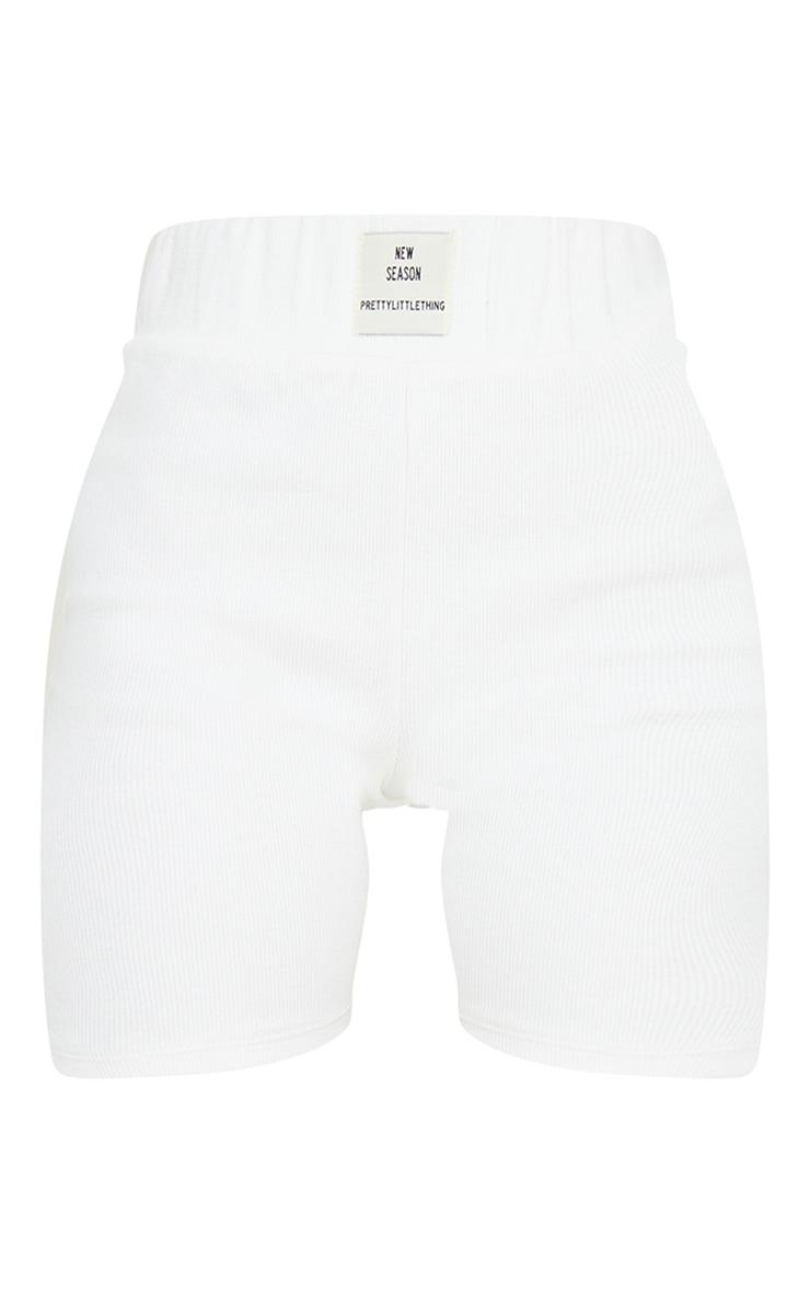 PRETTYLITTLETHING Petite Cream Rib New Season Badge Bike Shorts 6