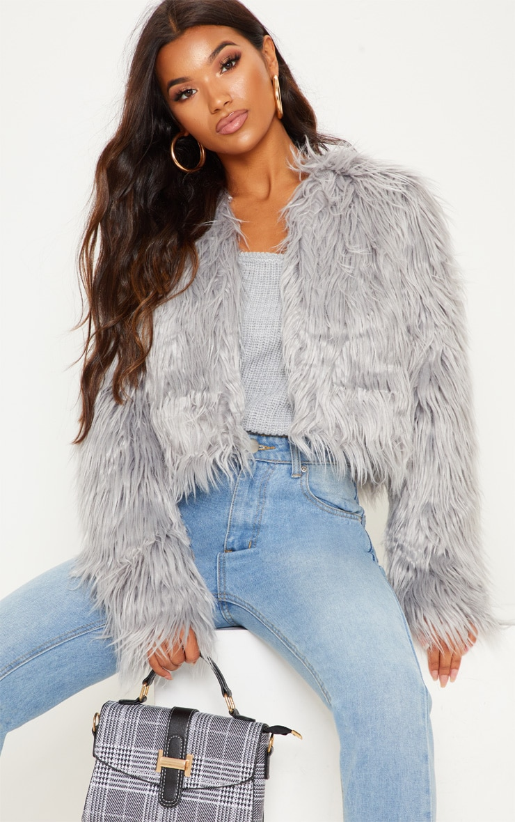 Liddie Grey Faux Fur Shaggy Cropped Jacket 1