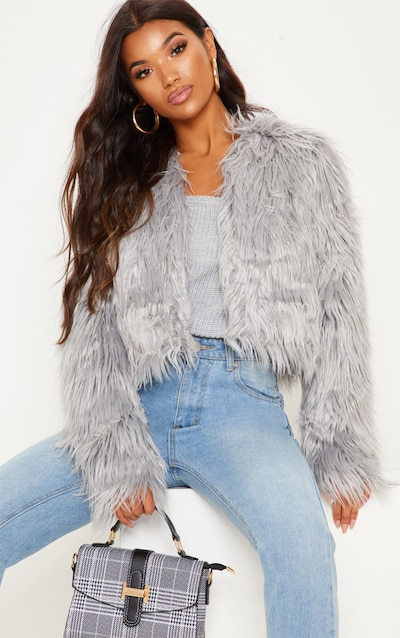 a4b8193de363d Liddie Grey Faux Fur Shaggy Cropped Jacket