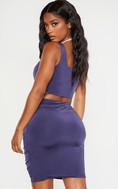 Shape Midnight Blue Ruched Strappy Crop Top