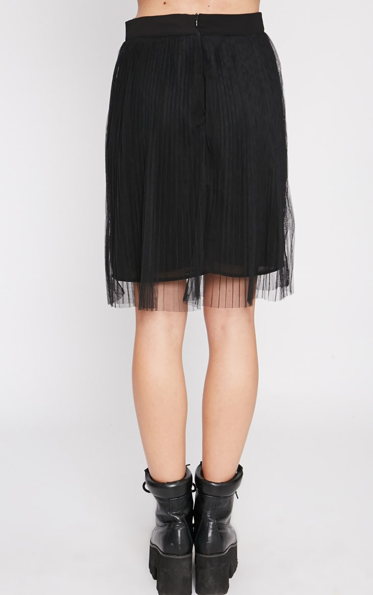 Senti Black Pleated Mesh Skirt-XS 4