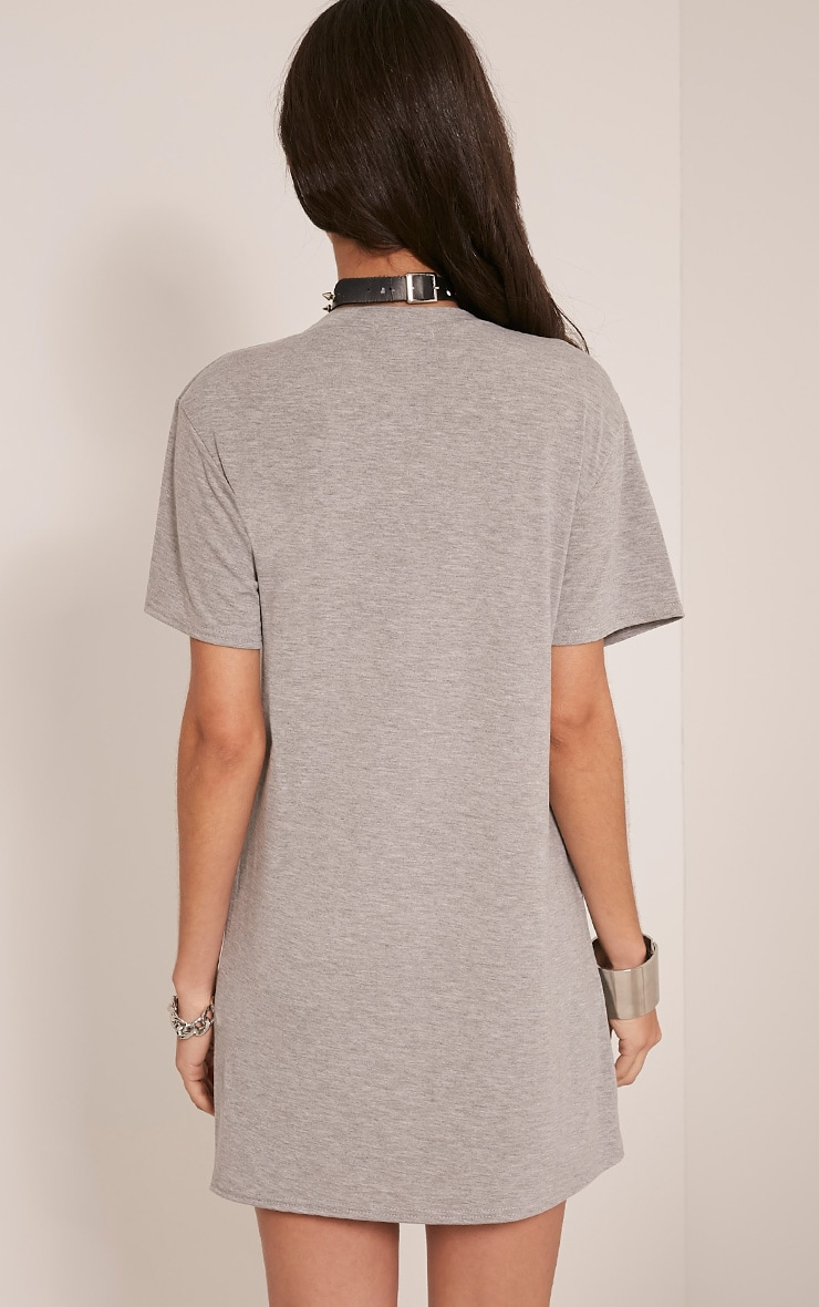 Skull Printed Grey T Shirt Dress 2
