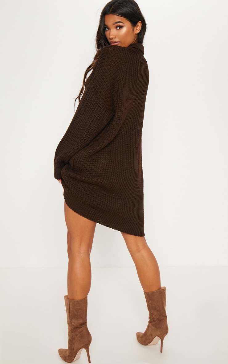 Brown Oversized High Neck Knitted Jumper Dress  2