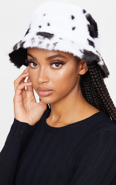 White and Black Fluffy Cow Print Reversible Bucket Hat