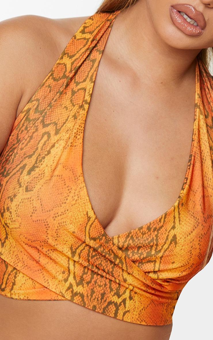 Orange Snake Print Cross Front Halterneck Bralet 4