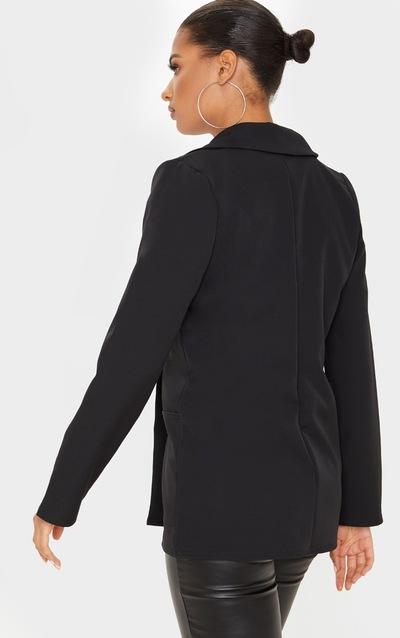 Black Military Button Detail Blazer
