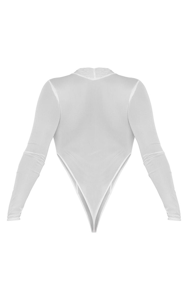 White Mesh High Neck Panel Detailing Bodysuit 6